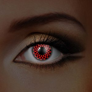 UV Red & Black Checkerboard Contact Lenses