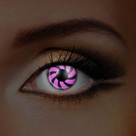 iGlow Pink Black Spiral UV Contact Lenses